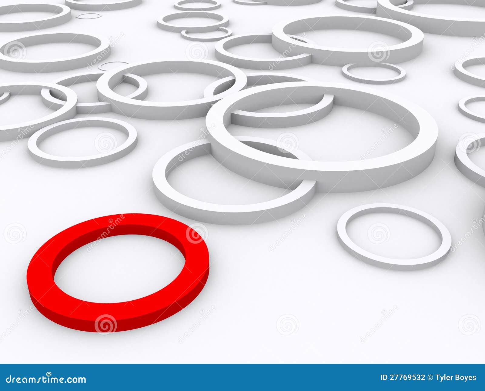 O anel vermelho está para fora