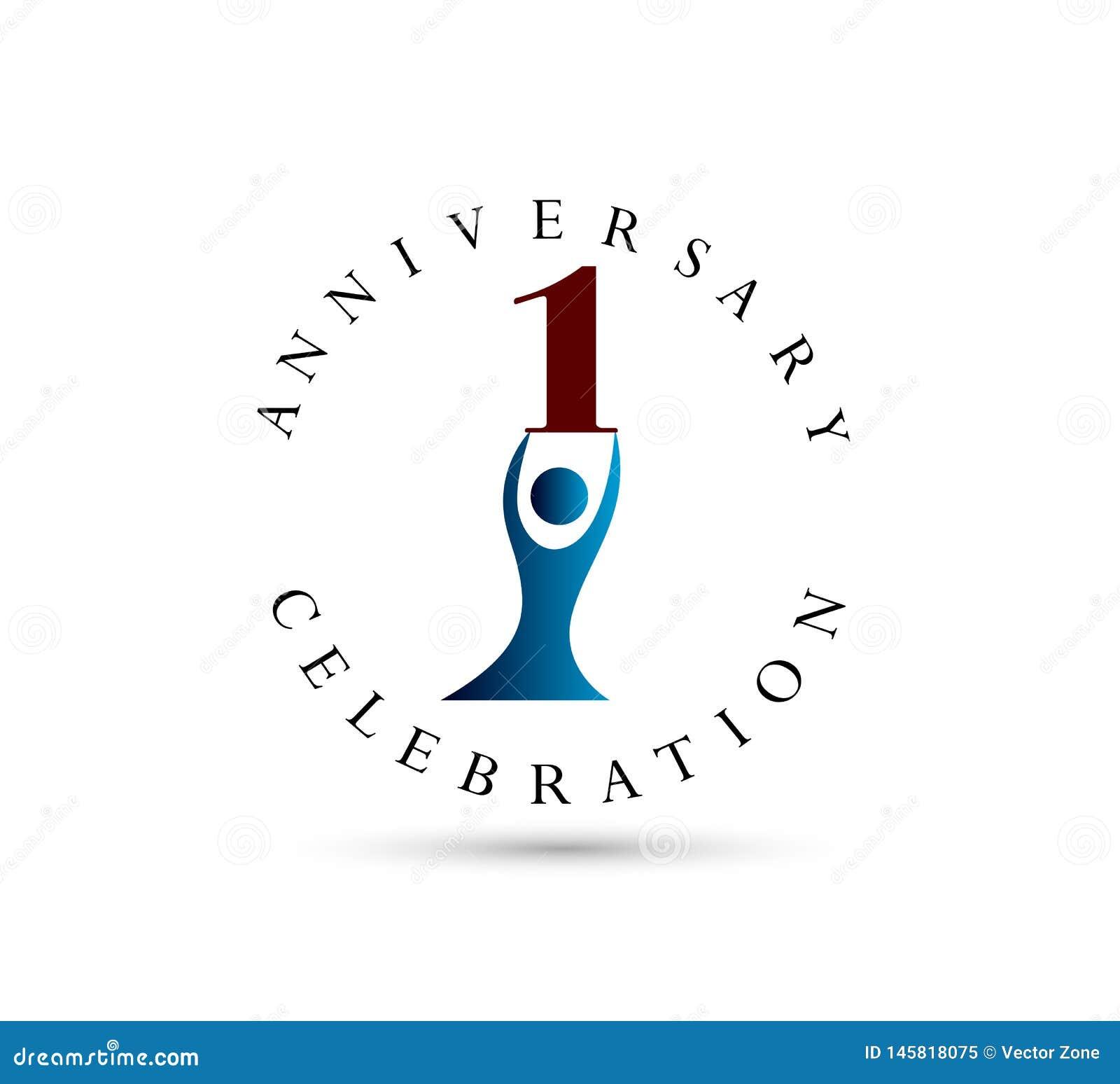 O anivers?rio dos povos, 1 ano circunda o ?cone da forma Pode ser usado para a Web, o logotipo, o app m?vel, etc.