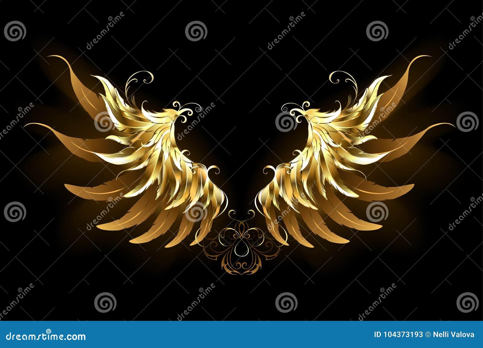 O anjo brilhante voa as asas douradas