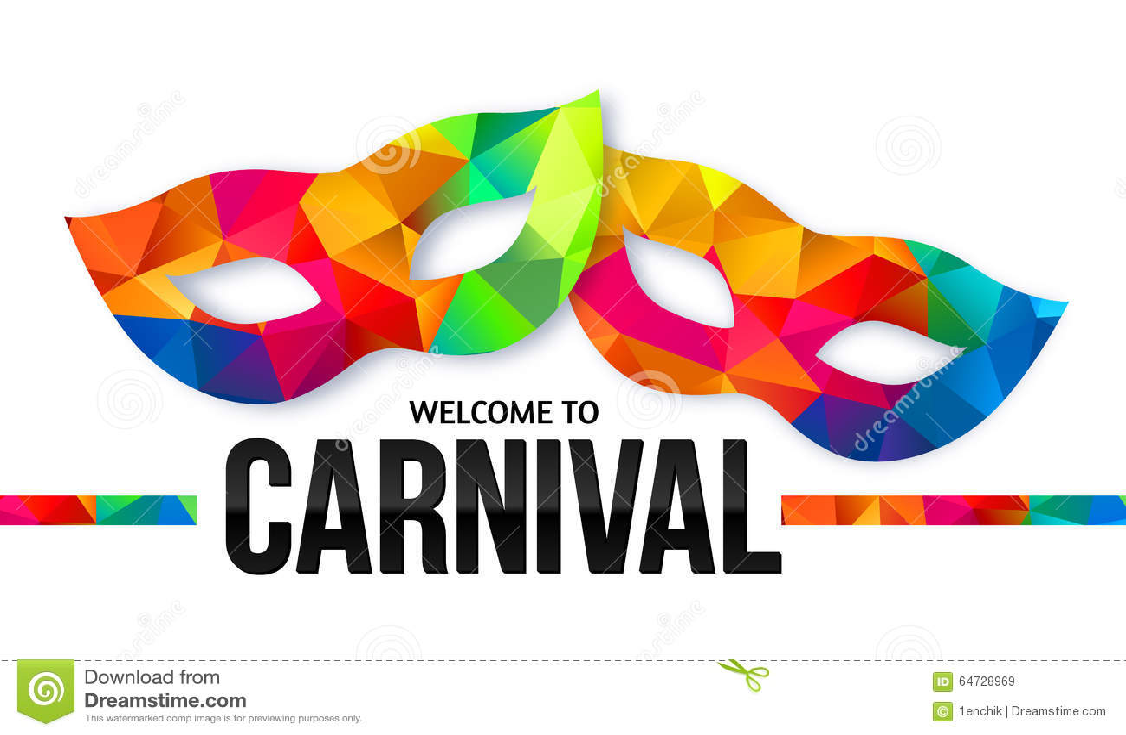 O arco-íris brilhante colore máscaras do carnaval com preto