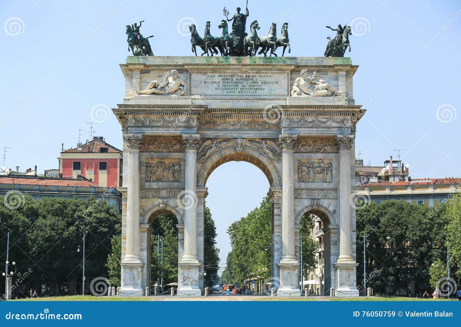 O arco da paz em Milão