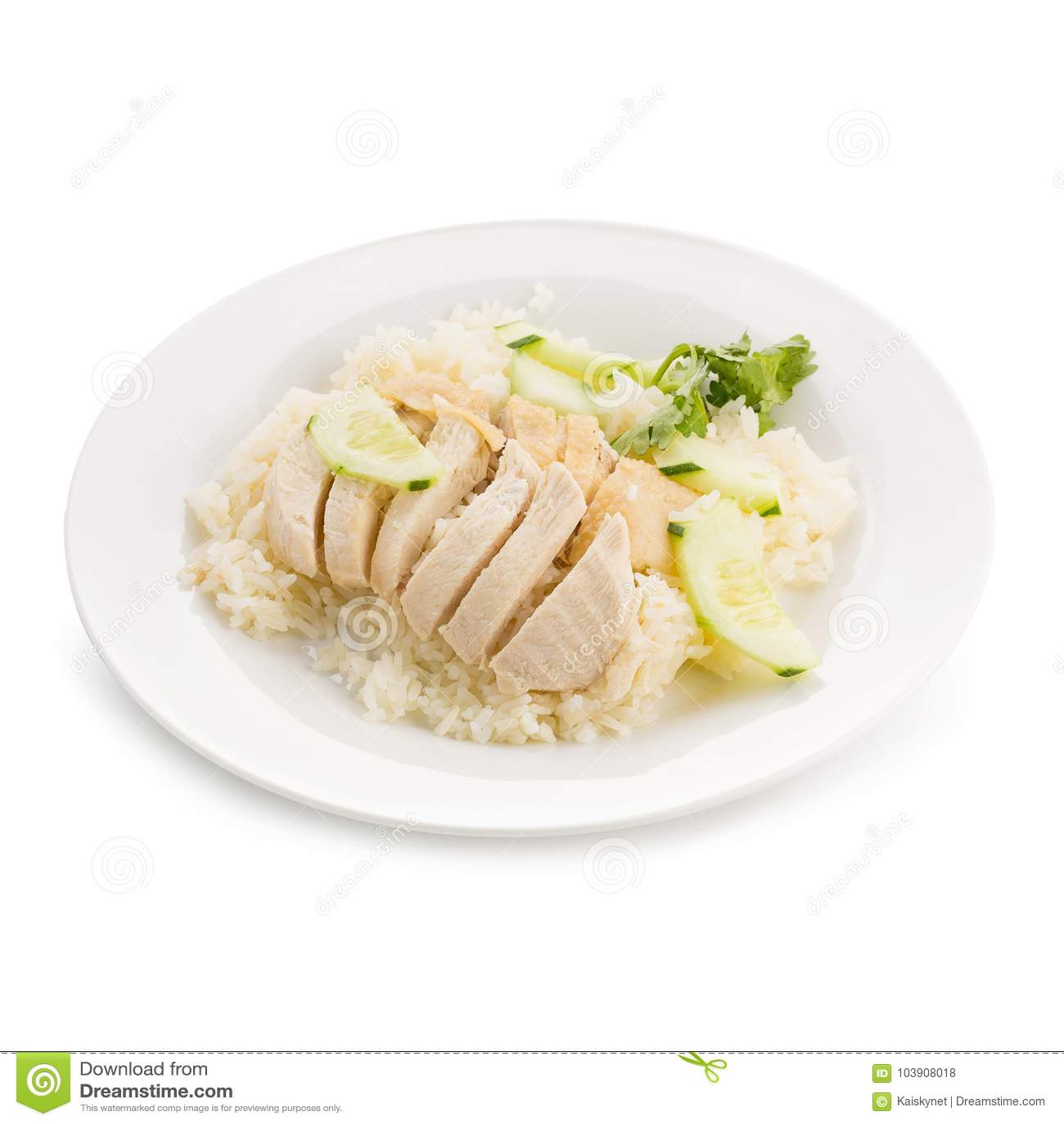 O arroz da galinha de Hainanese, gourmet tailandês cozinhou a galinha com arroz