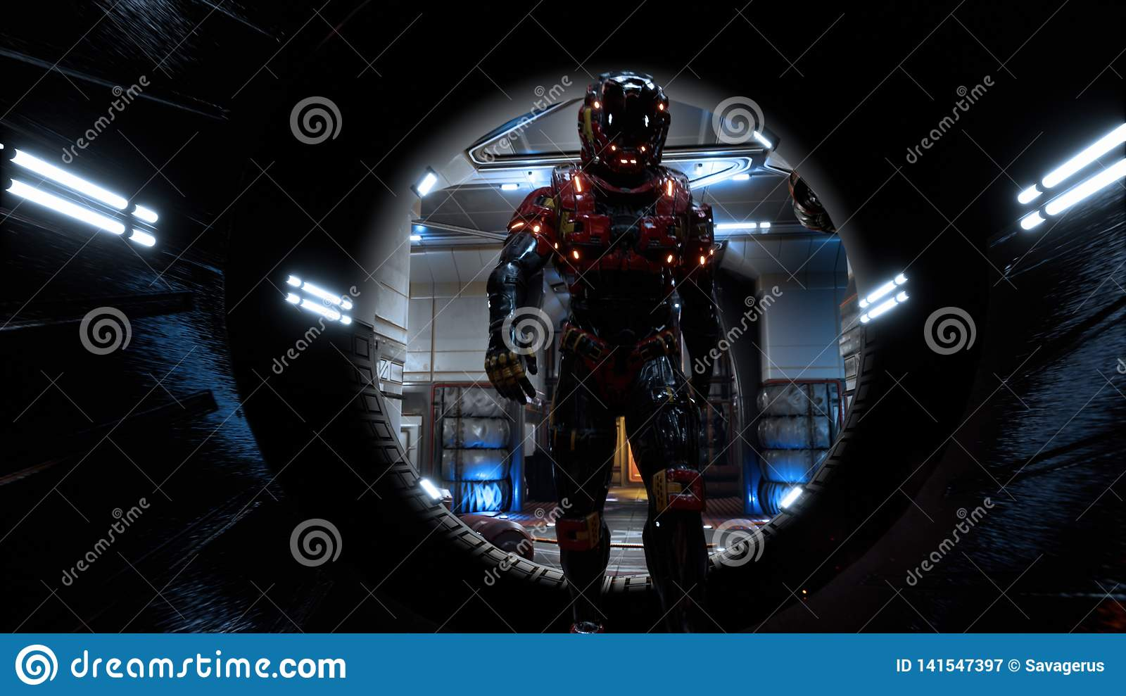 O astronauta passa através de um túnel futurista da ficção científica com faíscas e fumo, a vista interior rendição 3d