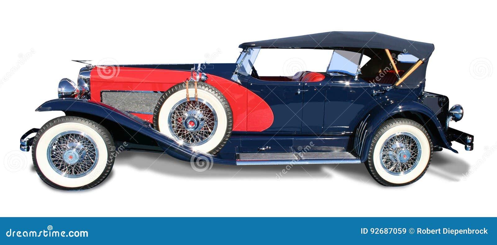 O automóvel clássico Duesenberg- do vintage isolou-se