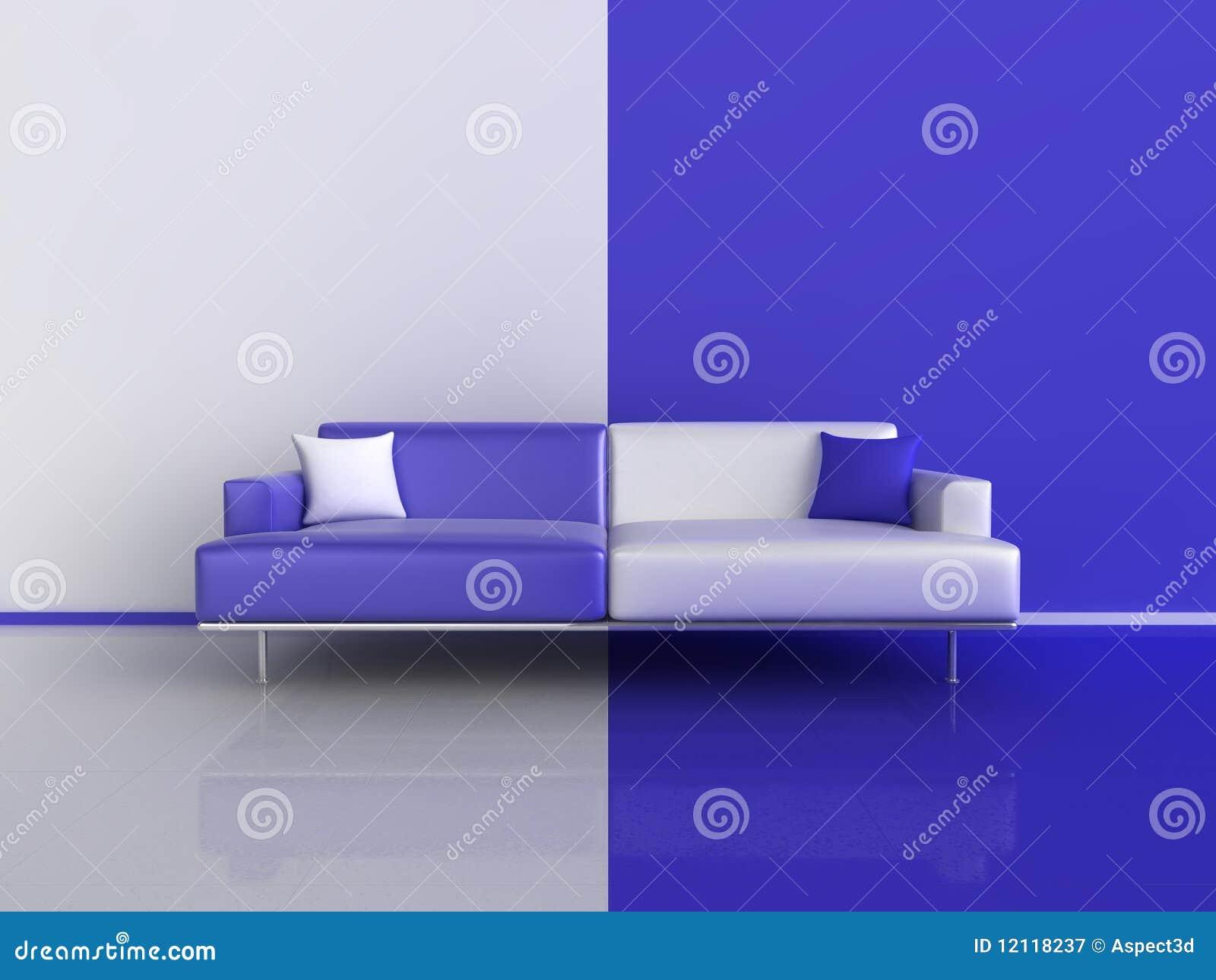 O azul e o branco contrastam o sofá
