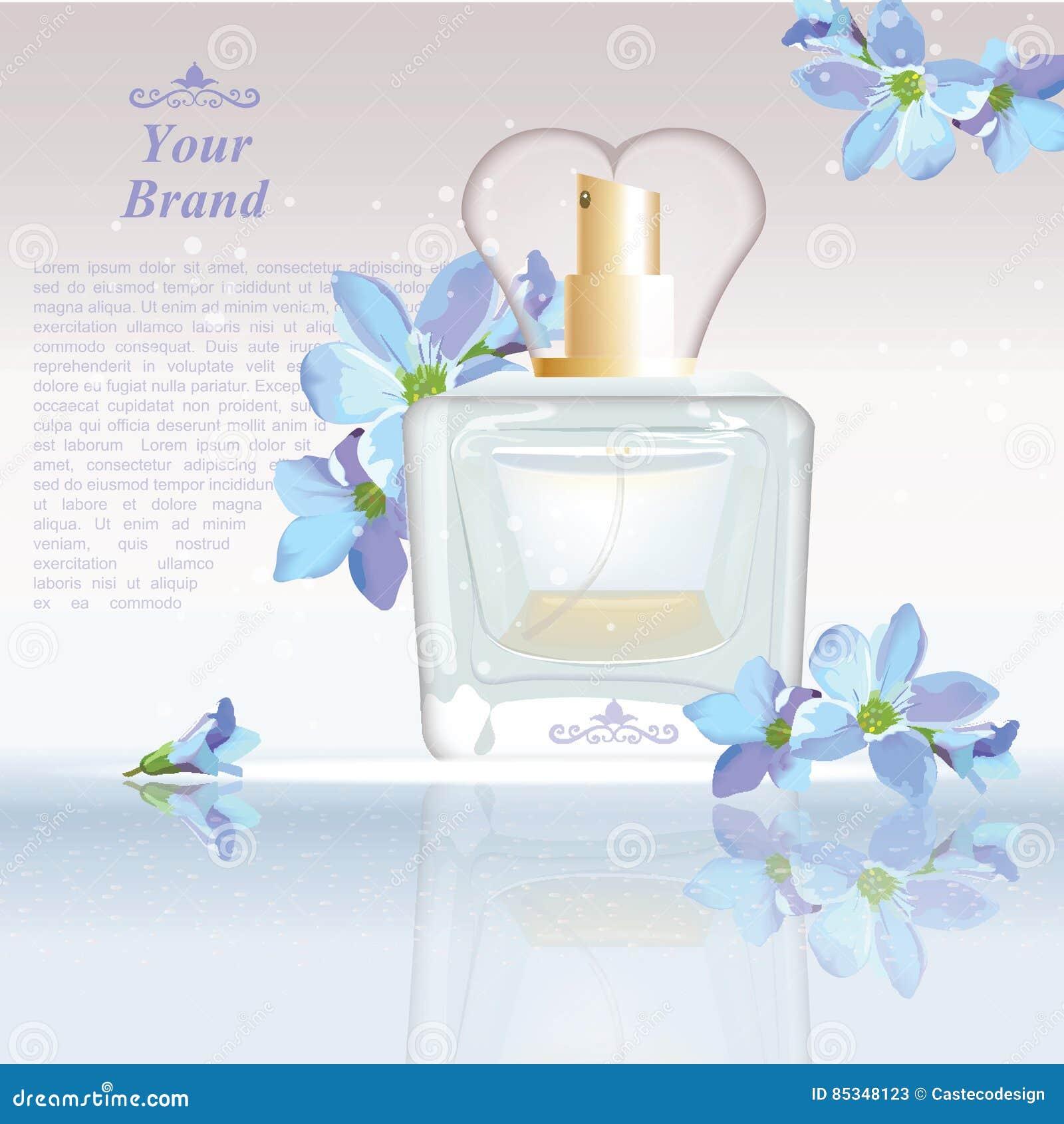 O azul floresce anúncios cosméticos molde da garrafa de perfume, zombaria da gota acima no fundo do brilho Lugar para o texto do