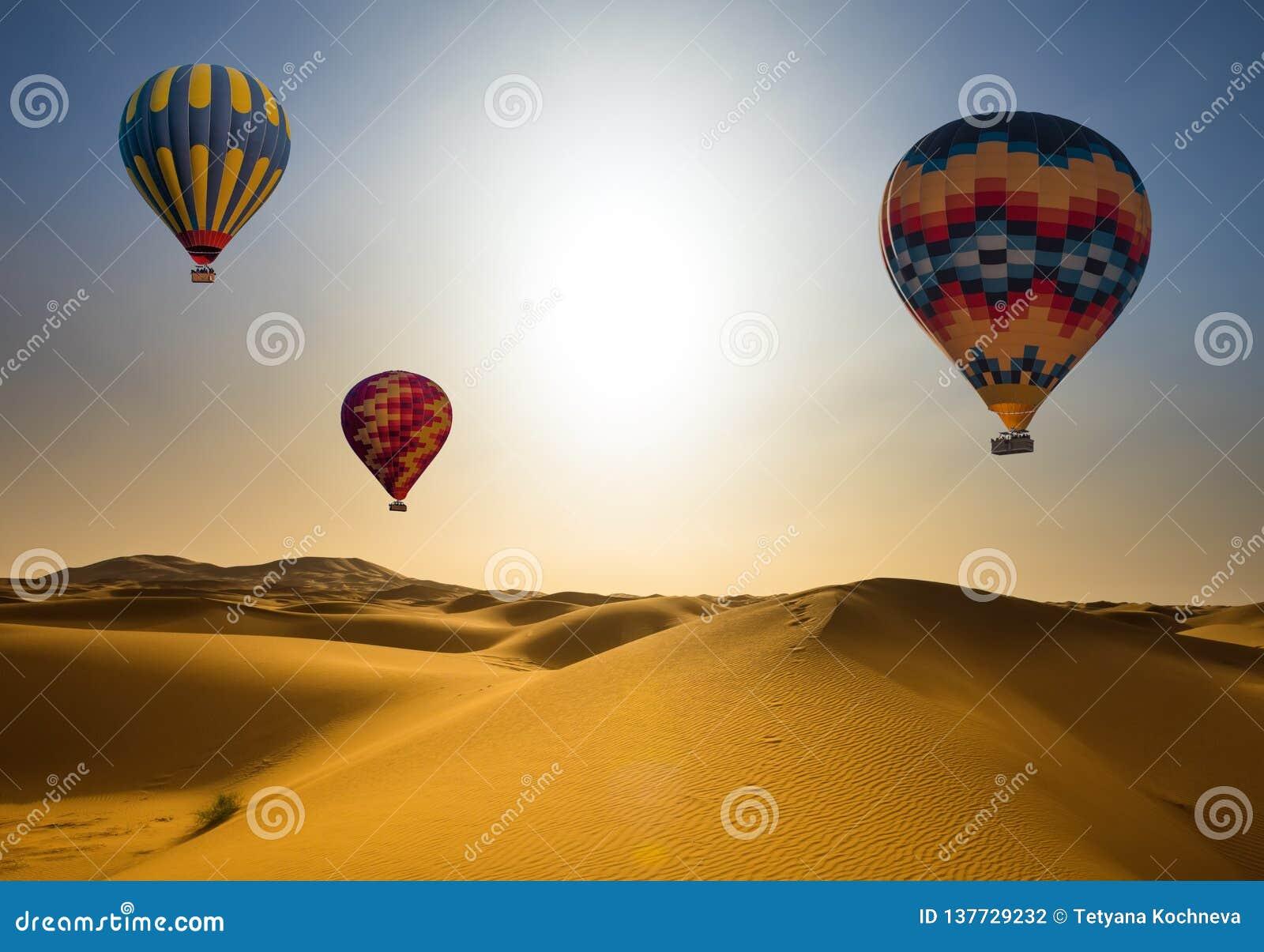 O balão do deserto e de ar quente ajardina no nascer do sol