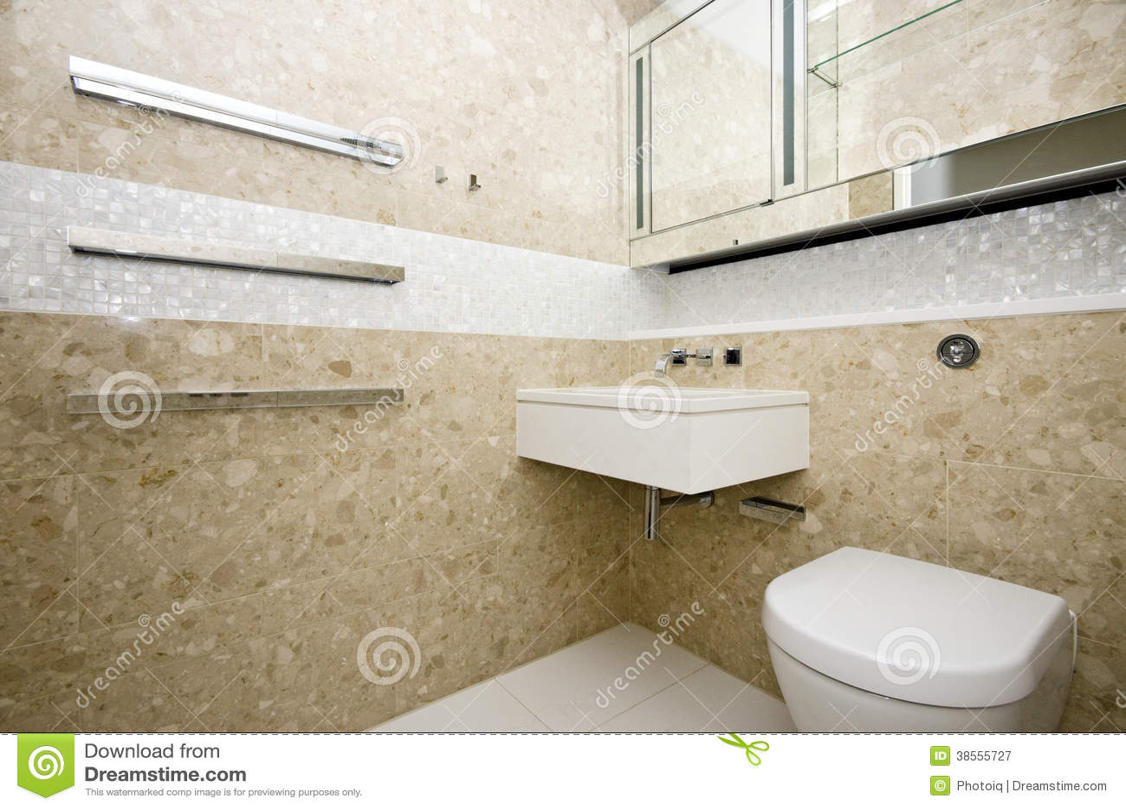 O banheiro à moda com a bacia e o mosaico de lavagem do retângulo telhou a parede