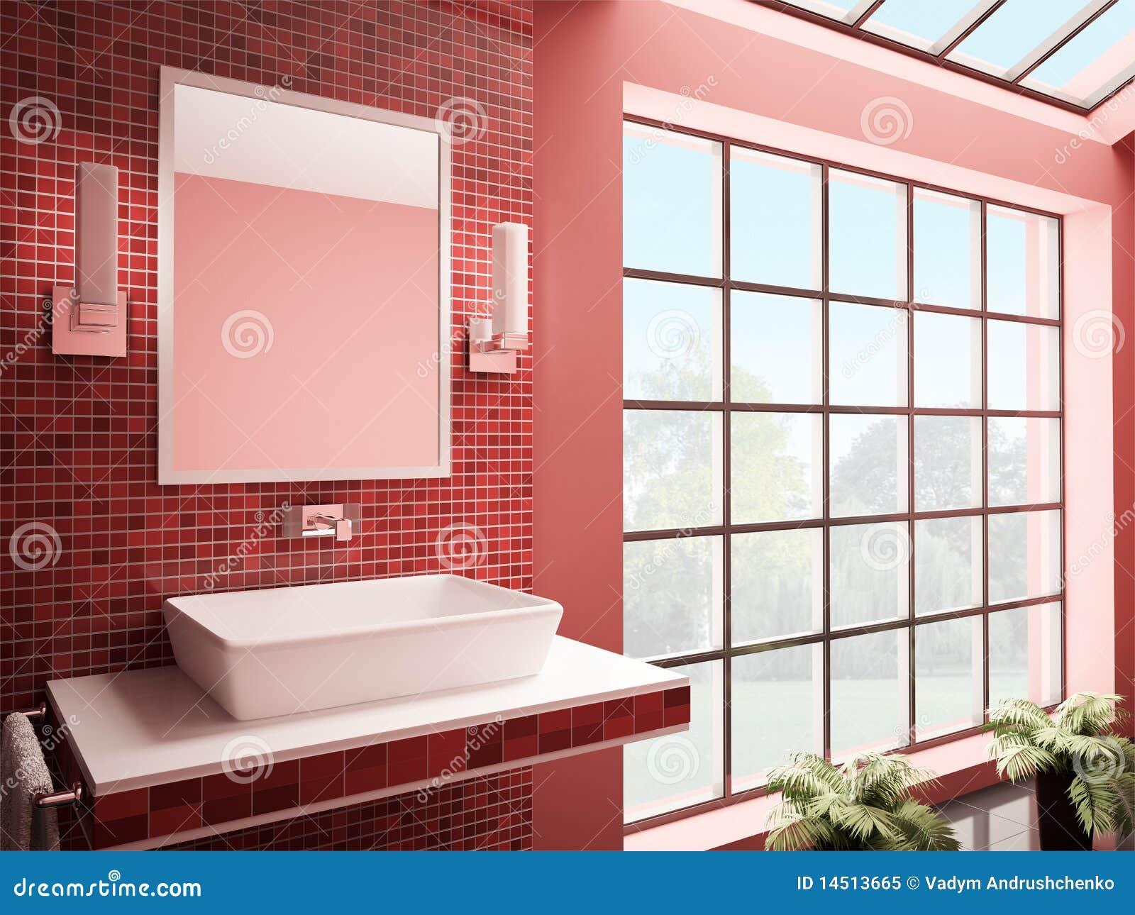 #82A328 Banheiro Vermelho 3d Interior Rende Foto de Stock Royalty Free  1300x1065 px projeto banheiro grande