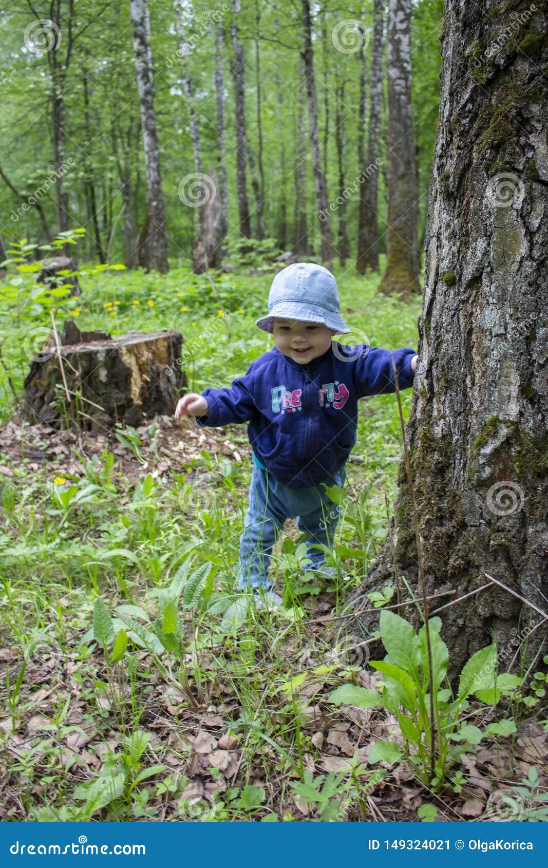 O beb? 8-9 meses aprende andar, caminhadas atrav?s das madeiras que guardam um tronco de ?rvore Menina que sorri em uma caminhada