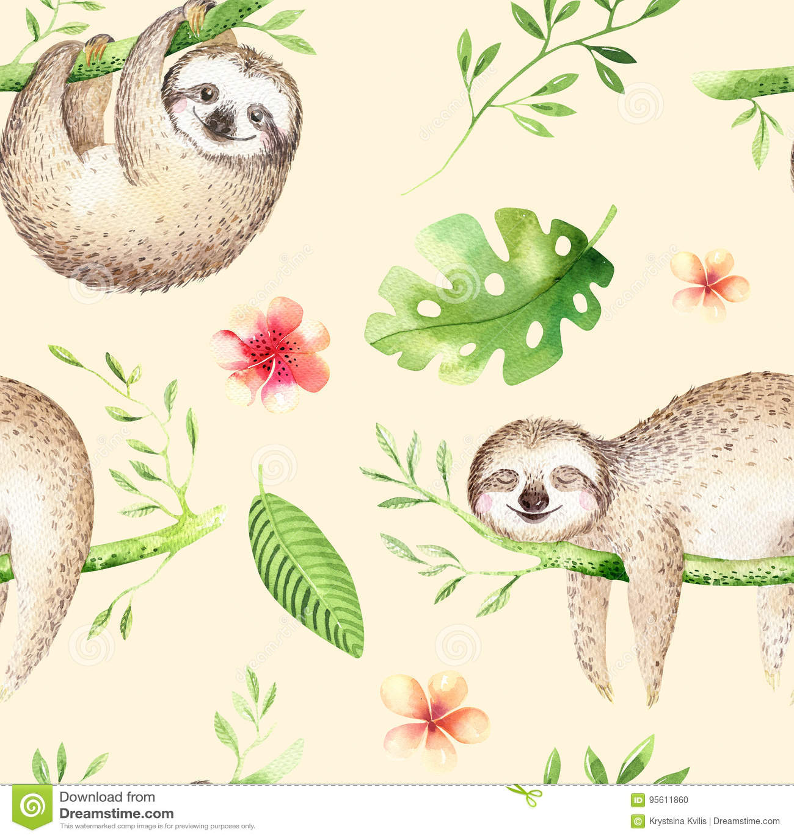 O berçário da preguiça dos animais do bebê isolou a pintura sem emenda do teste padrão Desenho tropical do boho da aquarela, dese