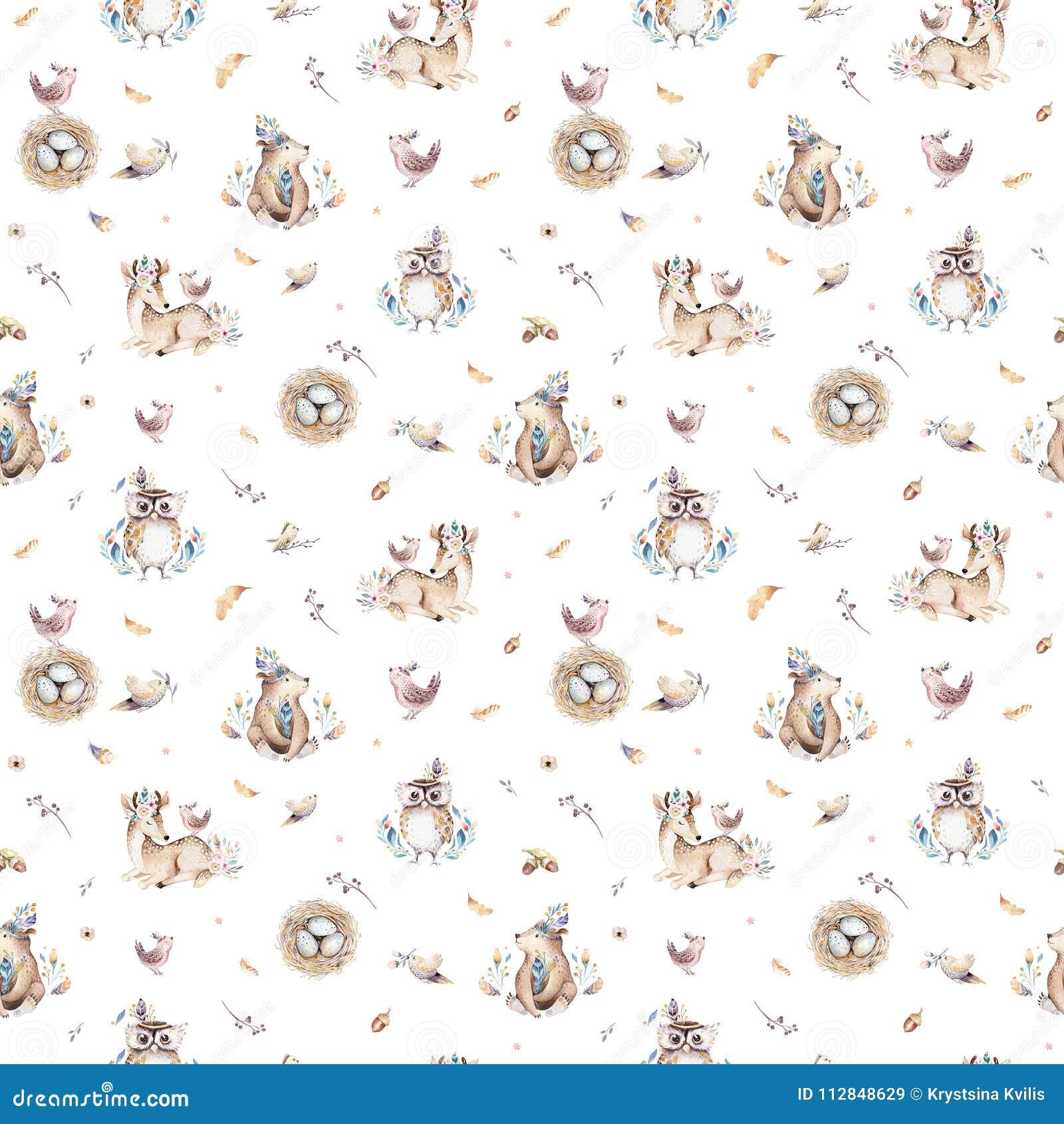 O berçário dos animais do bebê isolou o teste padrão sem emenda com bannies Raposa bonito do bebê do boho da aquarela, coelho ani