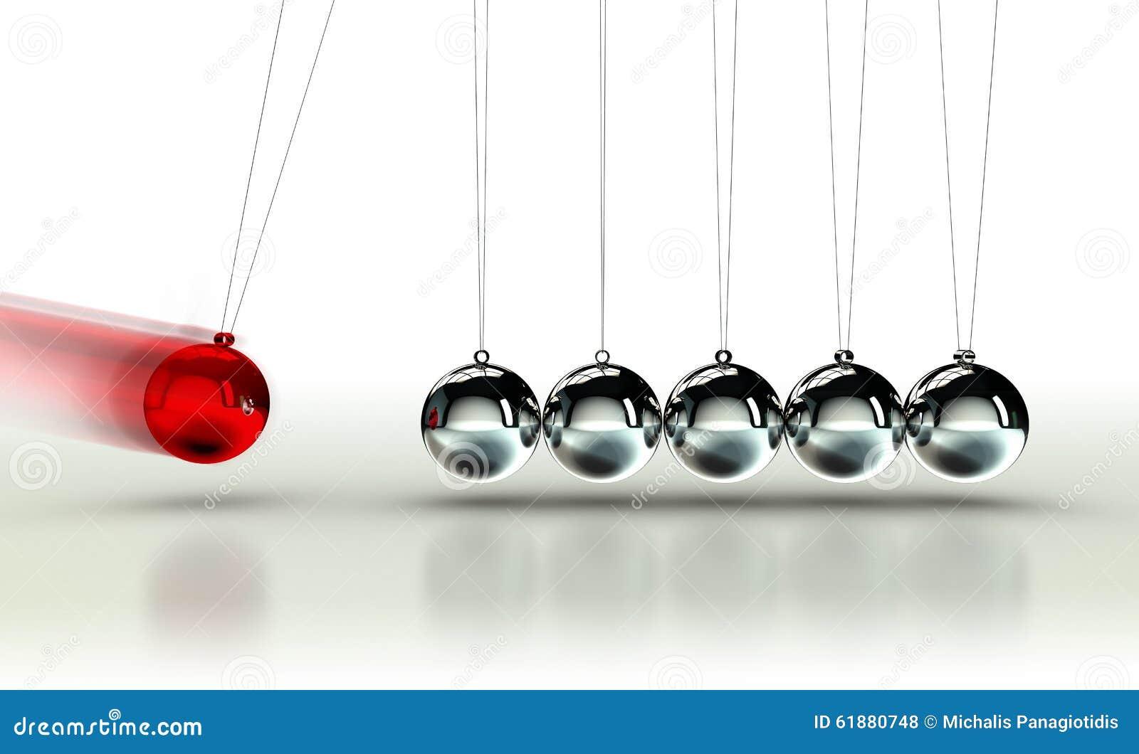 O berço de Newton com bola vermelha