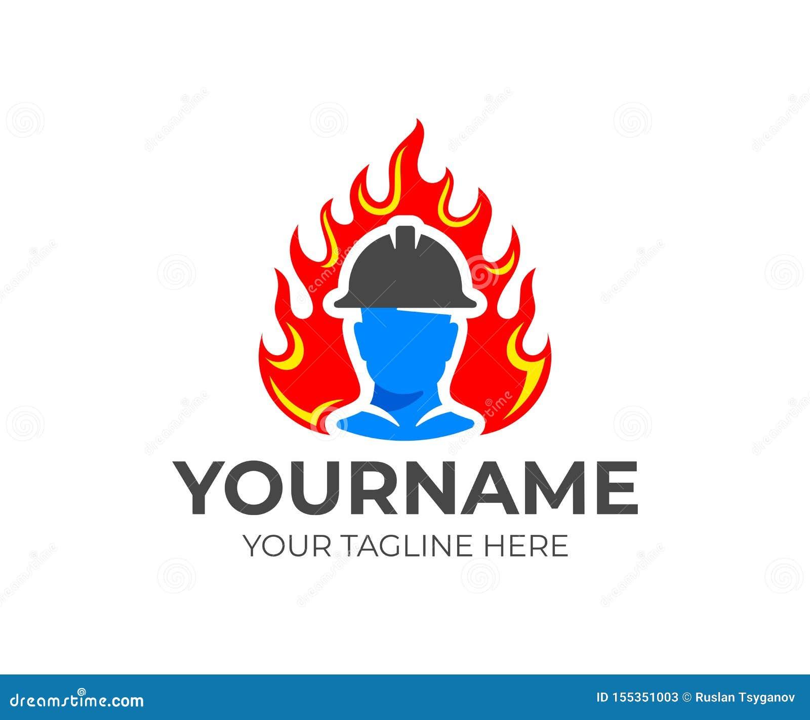 O bombeiro ou o sapador-bombeiro no capacete saem da chama ou do fogo, projeto do logotipo Luta contra o incêndio e departamento