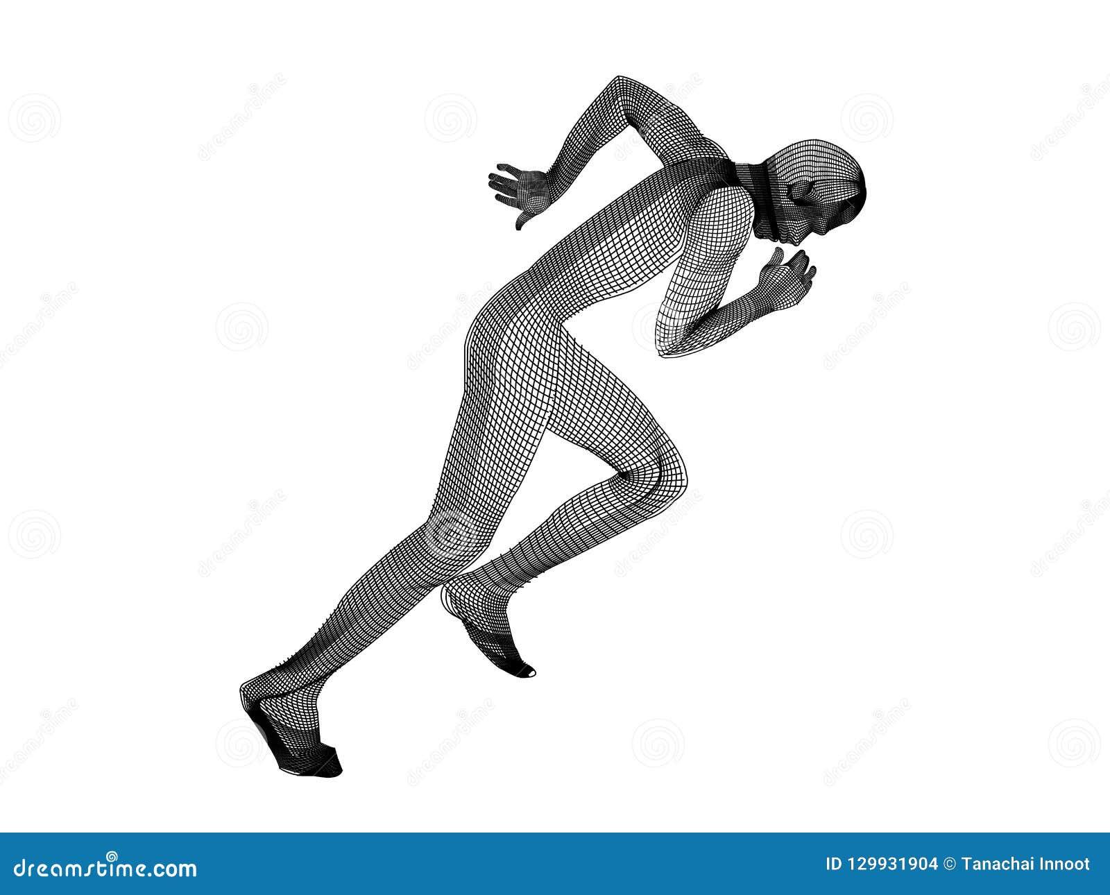 O branco de corrida do homem da malha