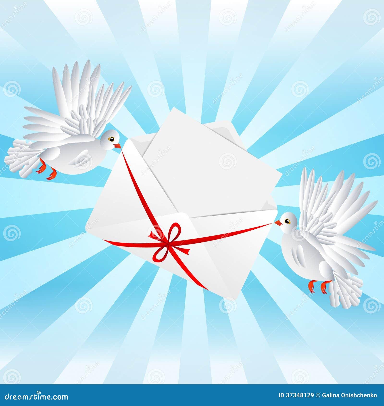 O branco dois um pombo é envelope levado