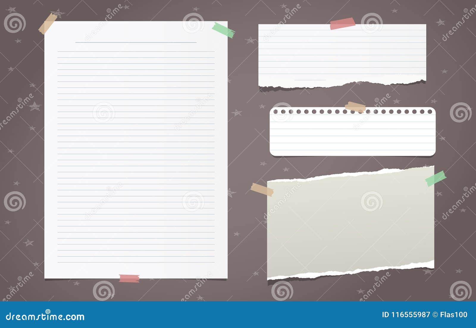 O branco rasgado alinhou as partes do papel de nota, folha do caderno para o texto colado no fundo marrom Ilustração do vetor