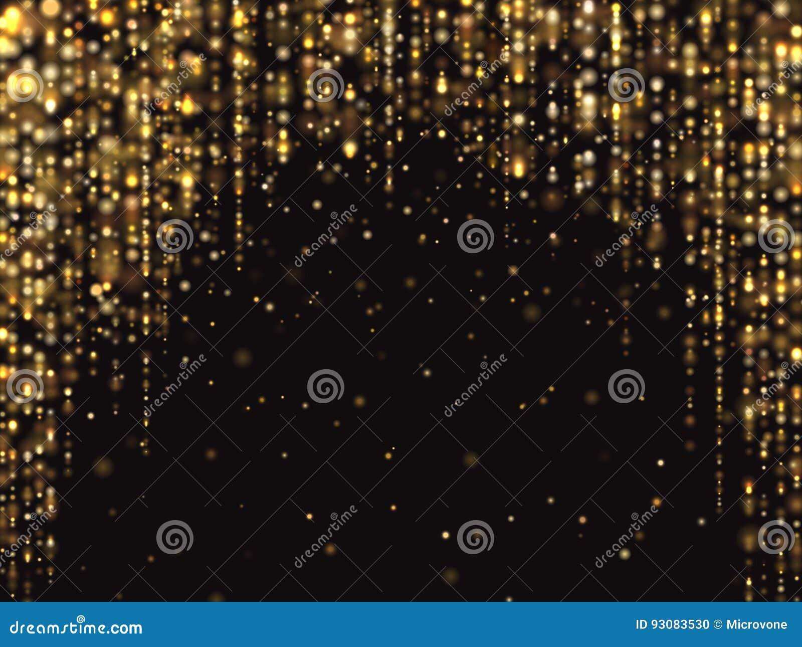 O brilho abstrato do ouro ilumina o fundo do vetor com textura rica luxuosa de queda da poeira da faísca