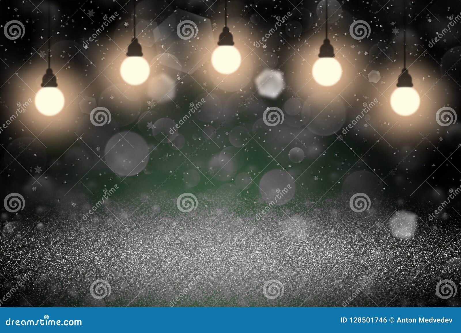 O brilho efervescente maravilhoso ilumina fundo defocused do sumário do bokeh com ampolas e os flocos de queda da neve voam, zomb