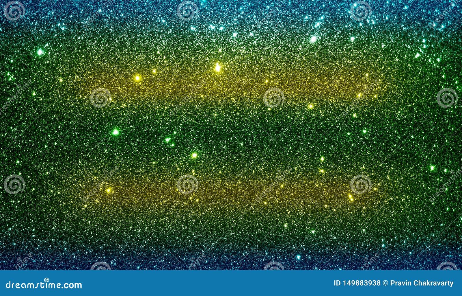 O brilho textured o azul verde amarelo e o papel de parede protegido preto do fundo