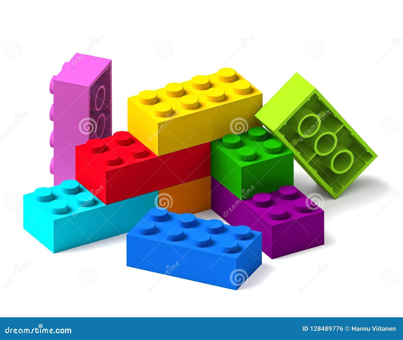 O brinquedo da construção da cor do arco-íris obstrui 3D