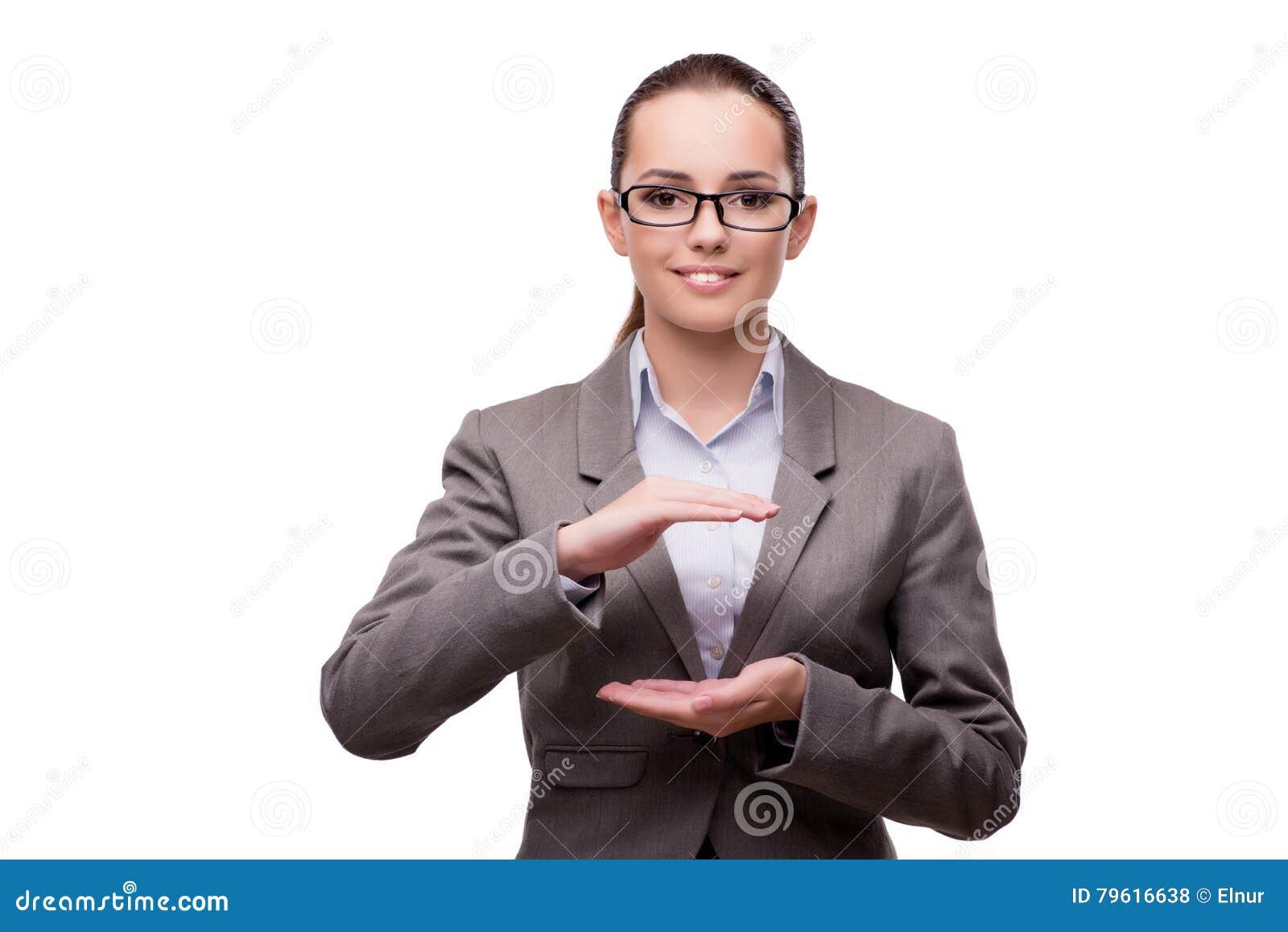 O bsuinesswoman que pressiona os botões virtuais isolados no branco