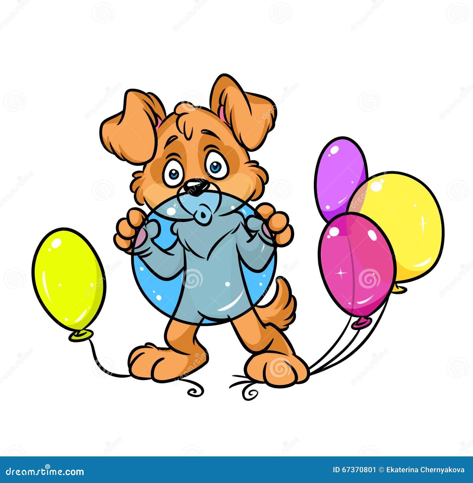 O cão balloons a ilustração dos desenhos animados da celebração