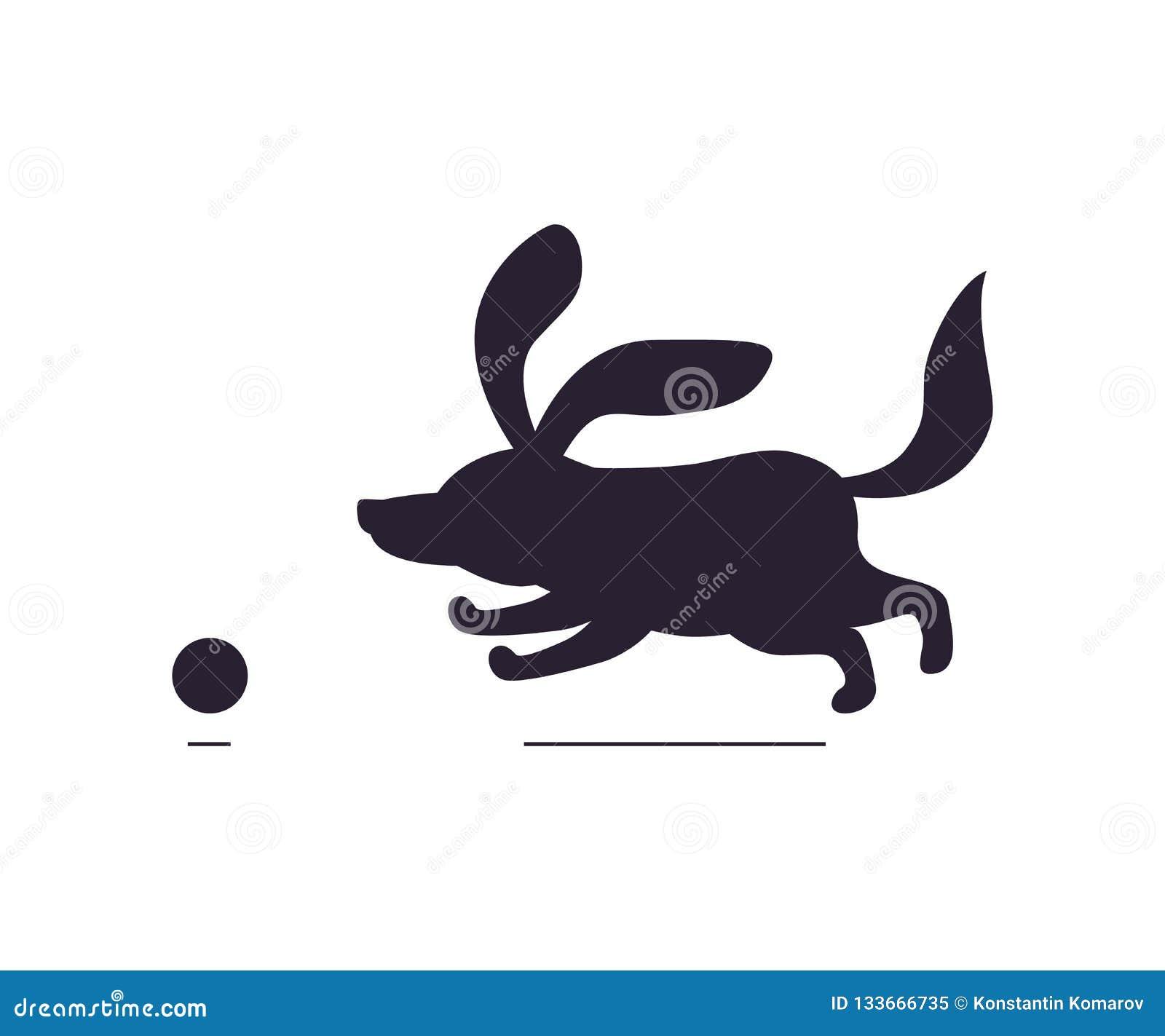 O cão com ícones da bola denomina horizontalmente a silhueta escura no fundo branco