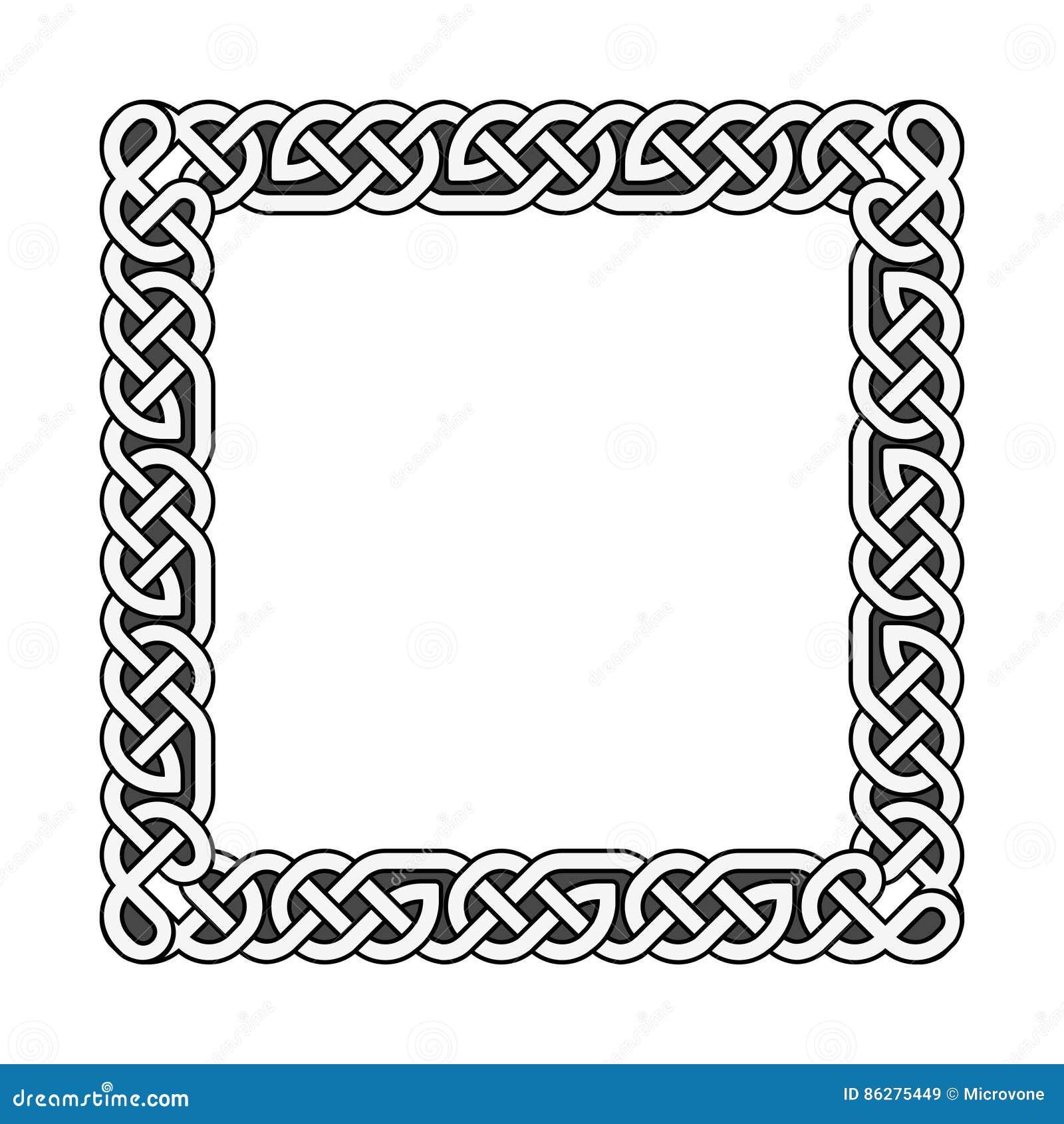 O céltico quadrado ata o quadro medieval do vetor em preto e branco