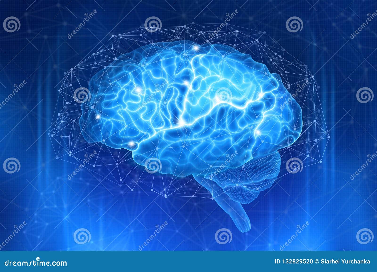 O cérebro humano é cercado por uma rede dos polígono em um escuro - fundo azul