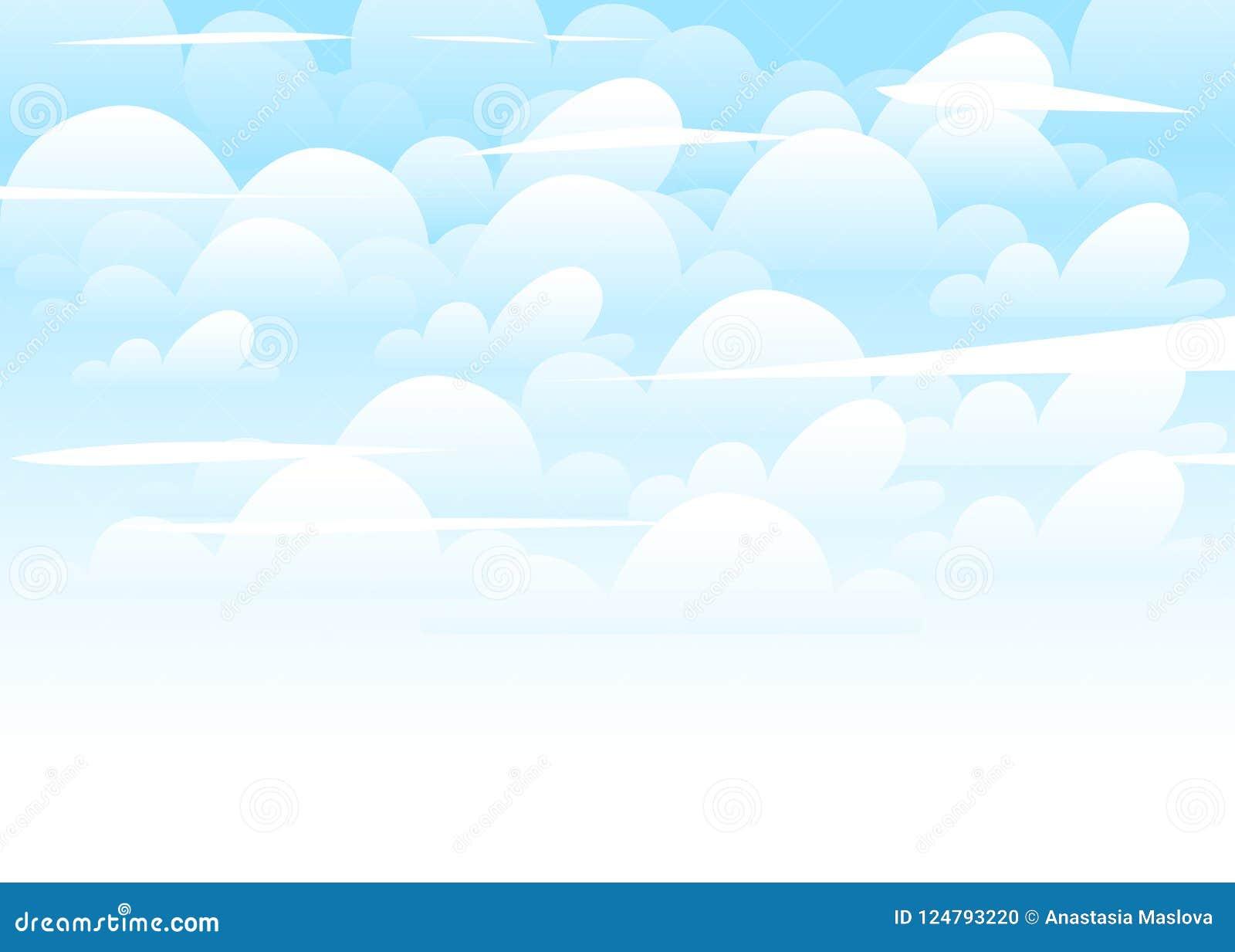 O Ceu Azul Com Branco Nubla Se O Fundo Illustation Liso Do Estilo