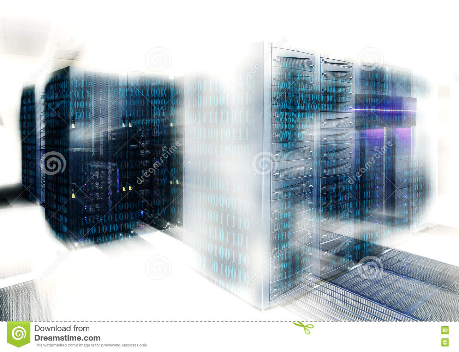 O código binário cobre uma parcela de unidade central no centro de dados