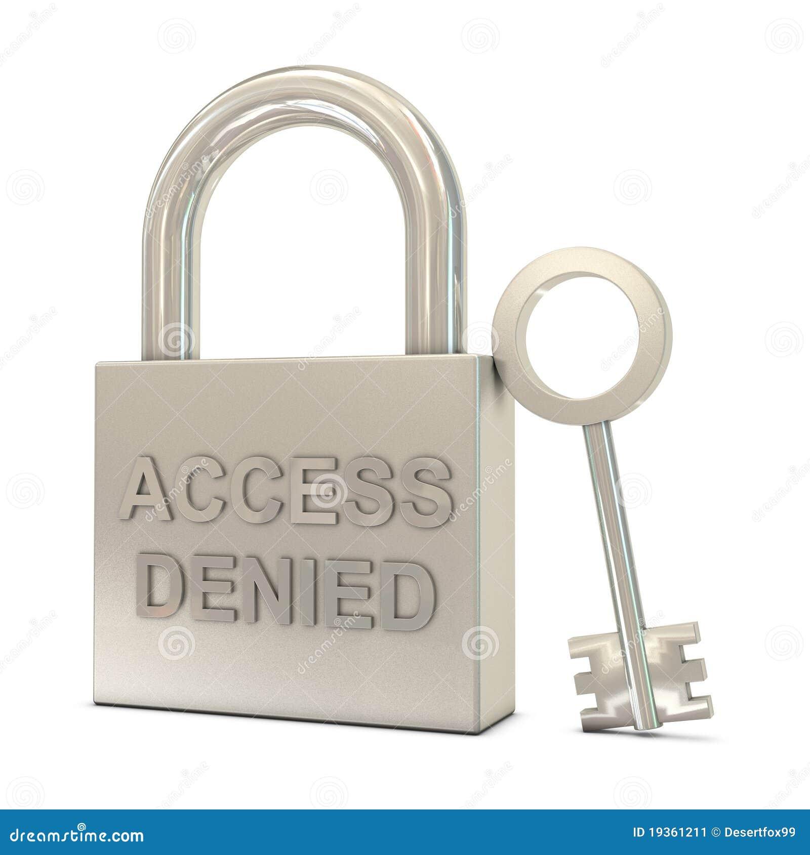 O cadeado fechado, a chave e o acesso negaram o texto