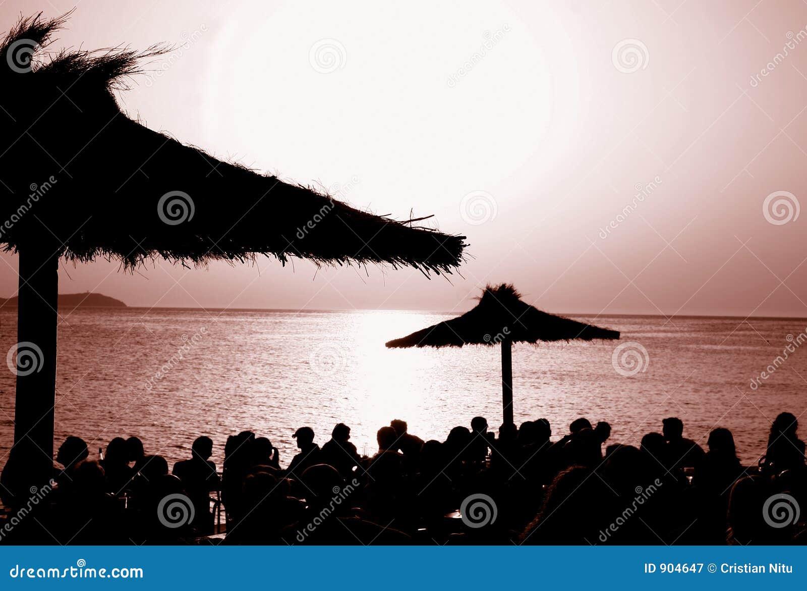 O café Del Mar do por do sol @, Ibiza