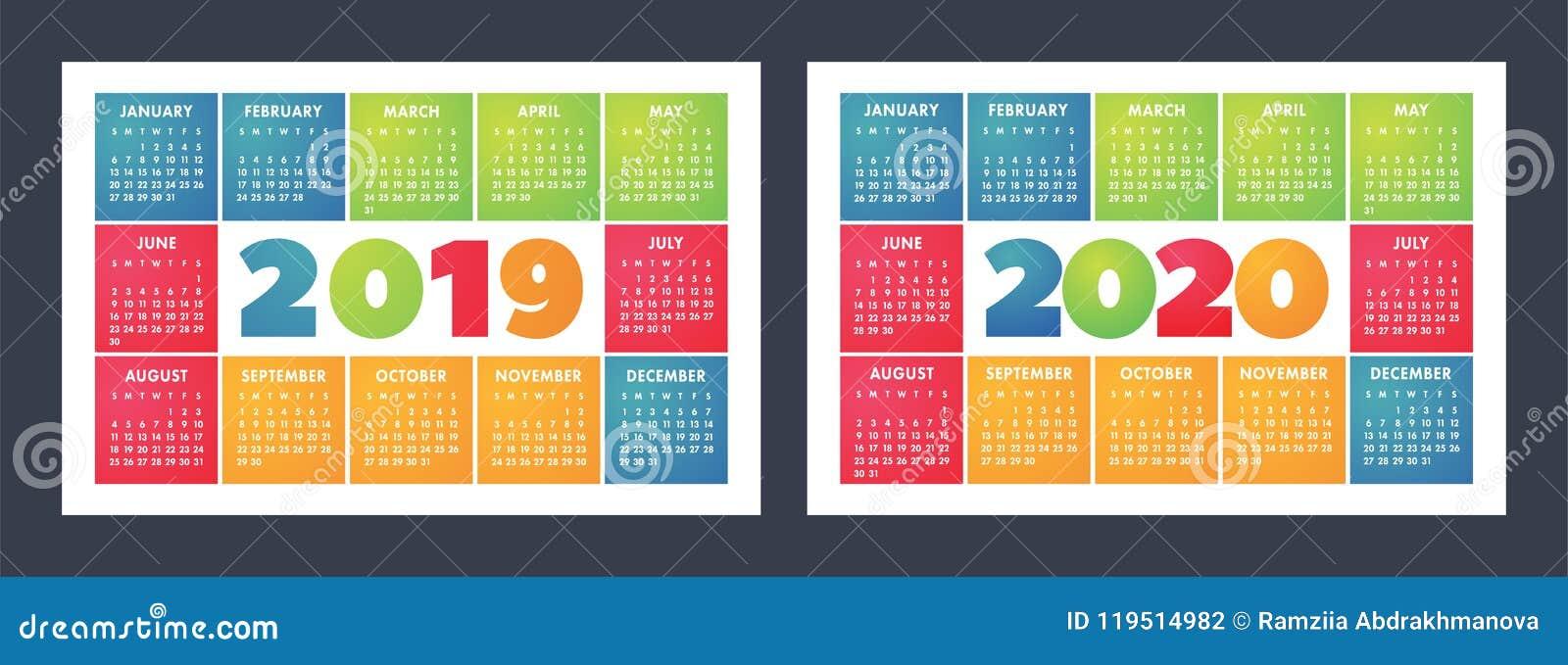Calendario For Mens 2020.O Calendario Colorido Ajustou 2019 2020 Brilhante