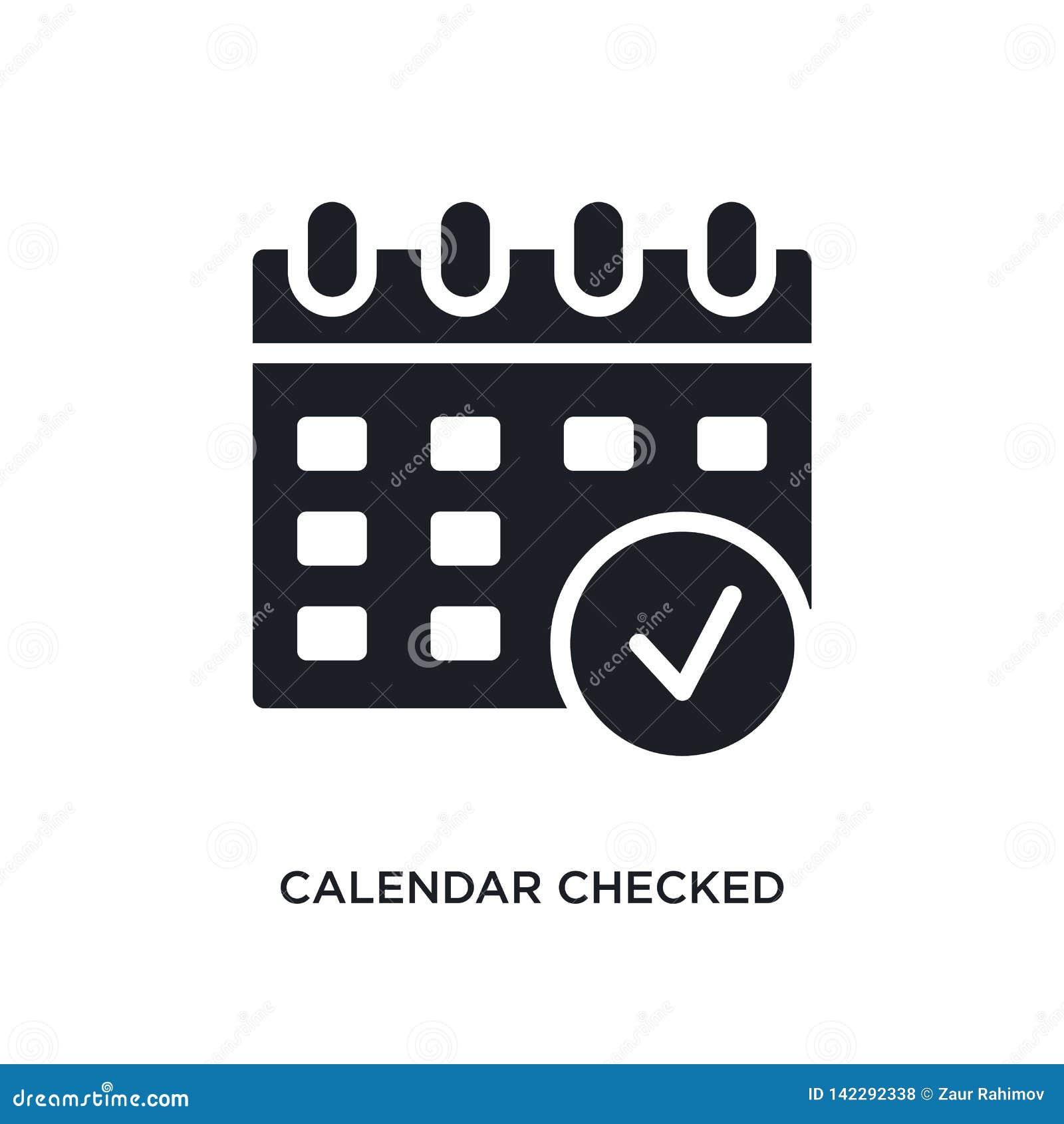 O calendário verificou o ícone isolado ilustração simples do elemento dos ícones finais do conceito dos glyphicons o calendário v