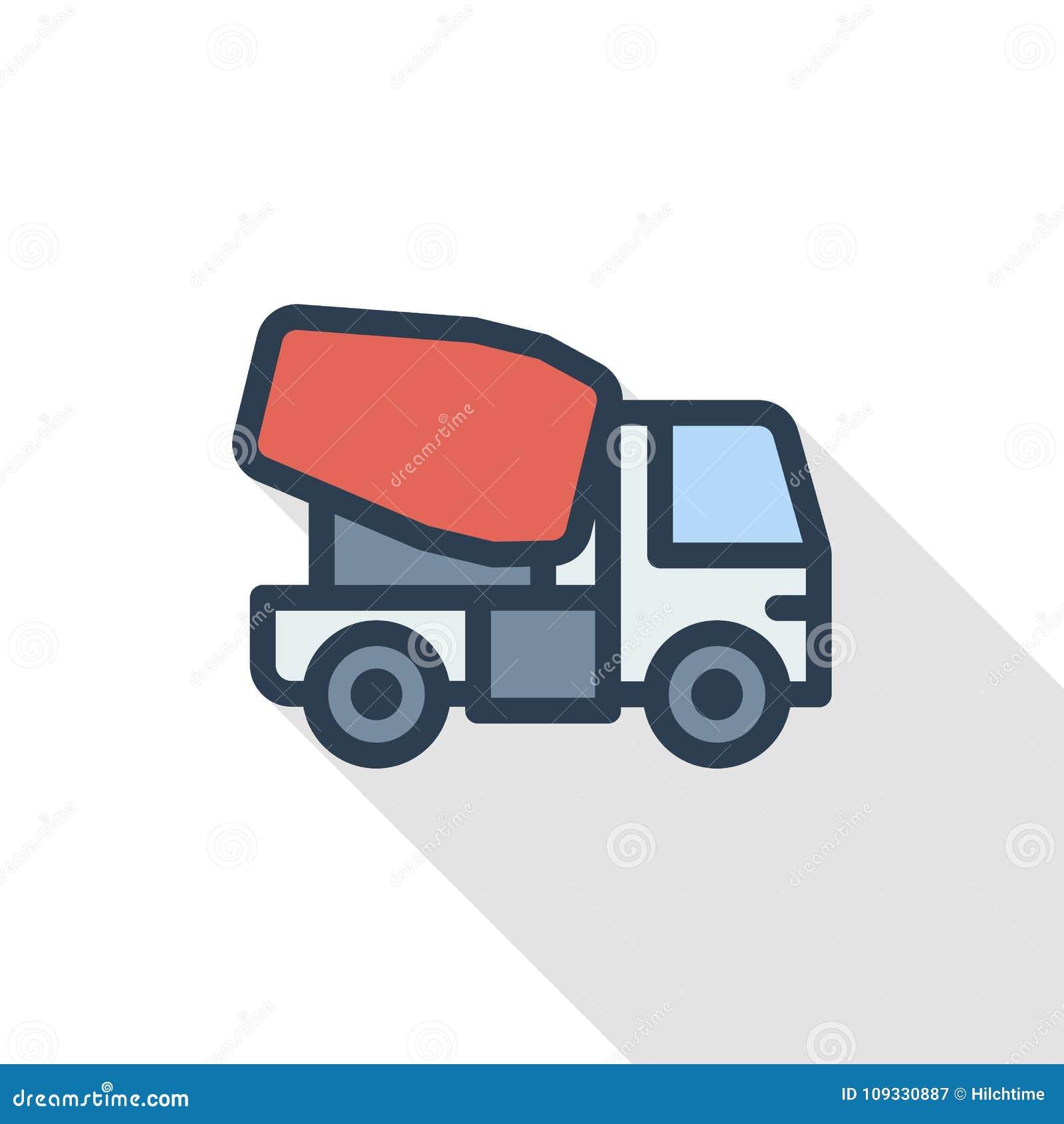 O caminhão de mistura concreto alinha finamente o ícone liso da cor Símbolo linear do vetor Projeto longo colorido da sombra