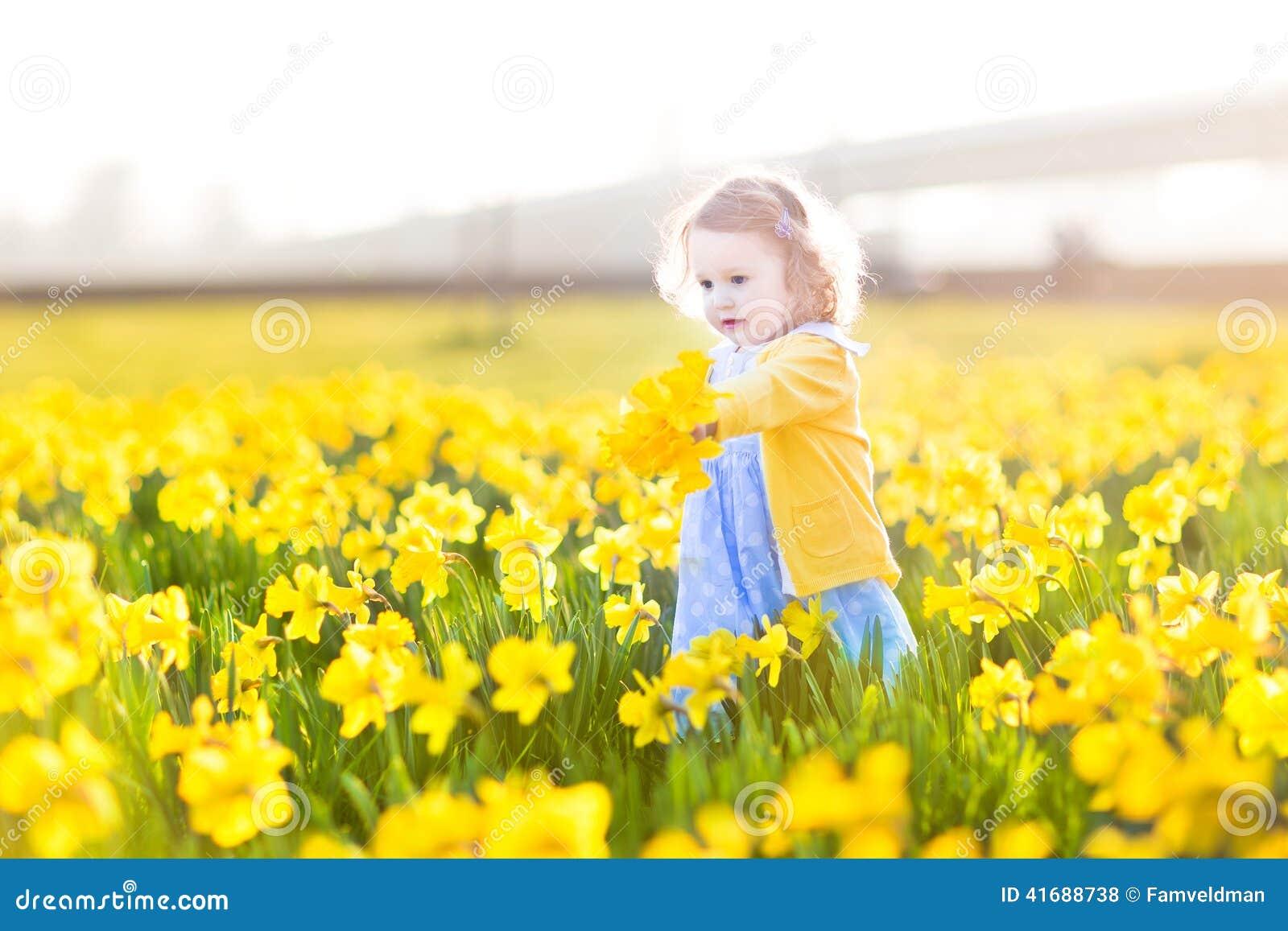 O campo doce da menina da criança do narciso amarelo amarelo floresce
