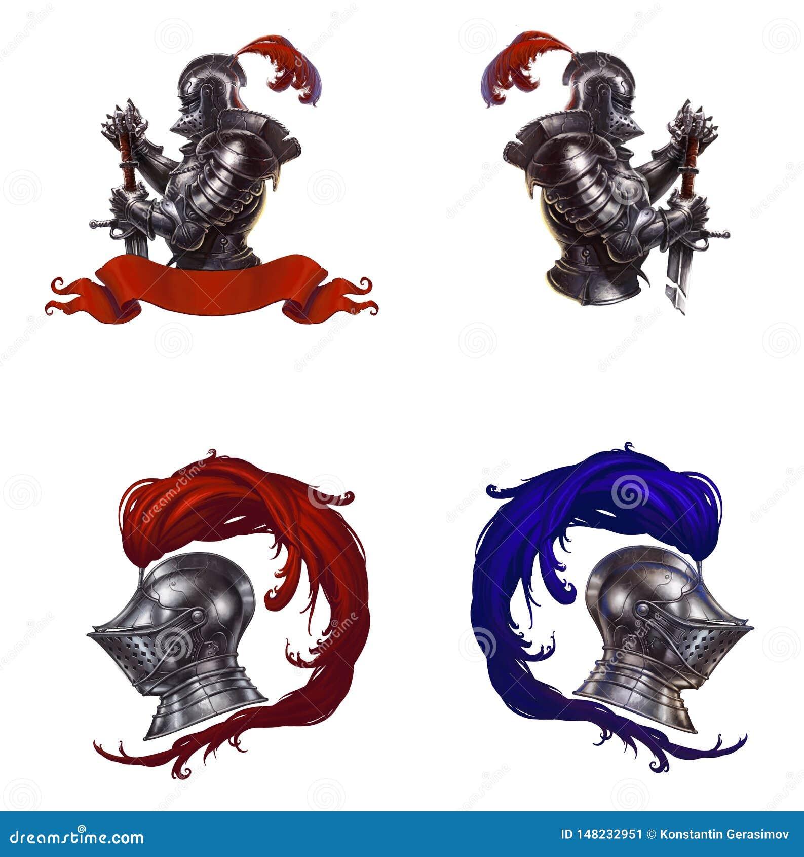 O capacete do cavaleiro com penas vermelhas