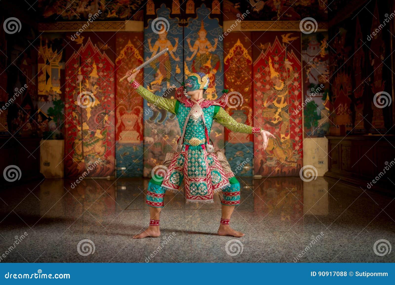 O caráter de TAILÂNDIA KHON na história de Ramayana mascarou tradicional