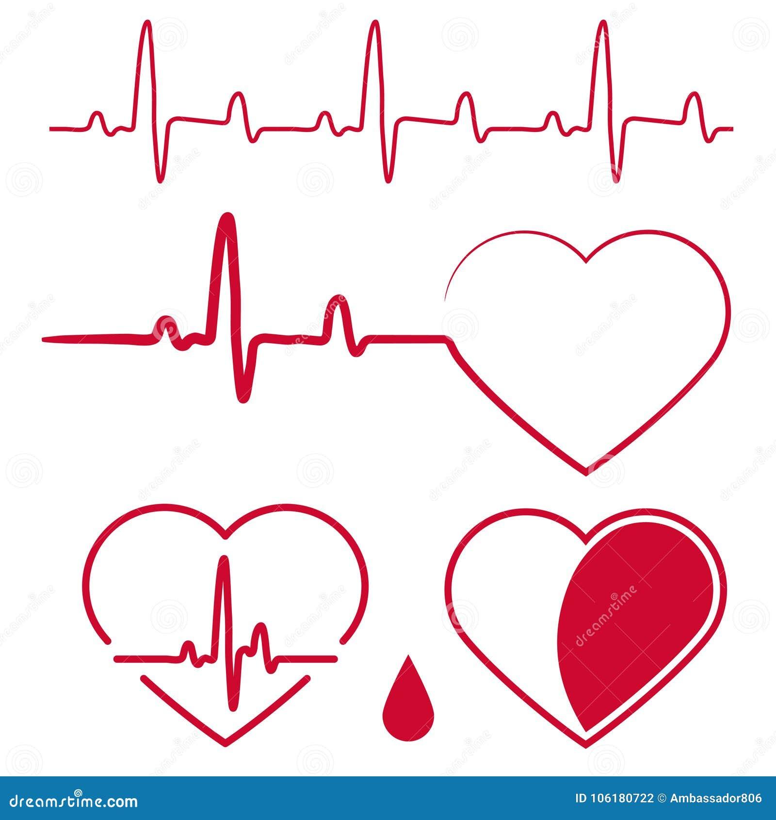 O cardiograma do coração acena, sinal vermelho do gráfico da pulsação do coração, uma linha