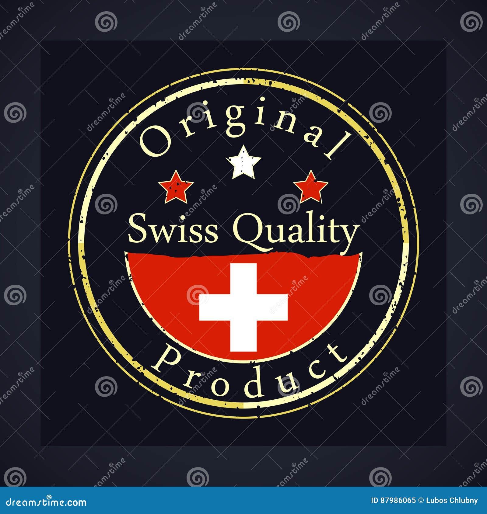 O carimbo de borracha do grunge do ouro com a qualidade suíça do texto, etiqueta o produto original