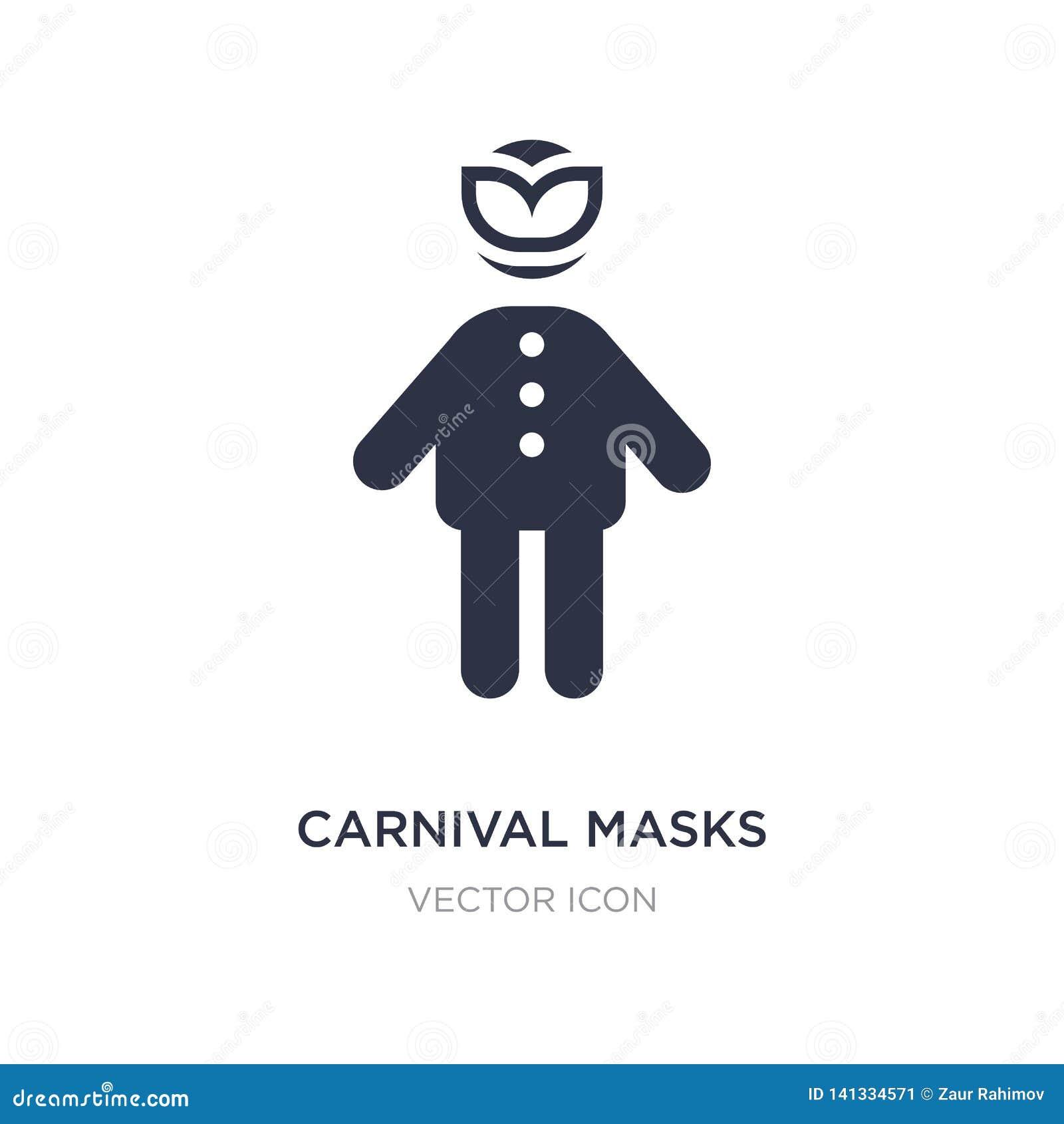 O carnaval mascara o ícone no fundo branco Ilustração simples do elemento do conceito dos povos