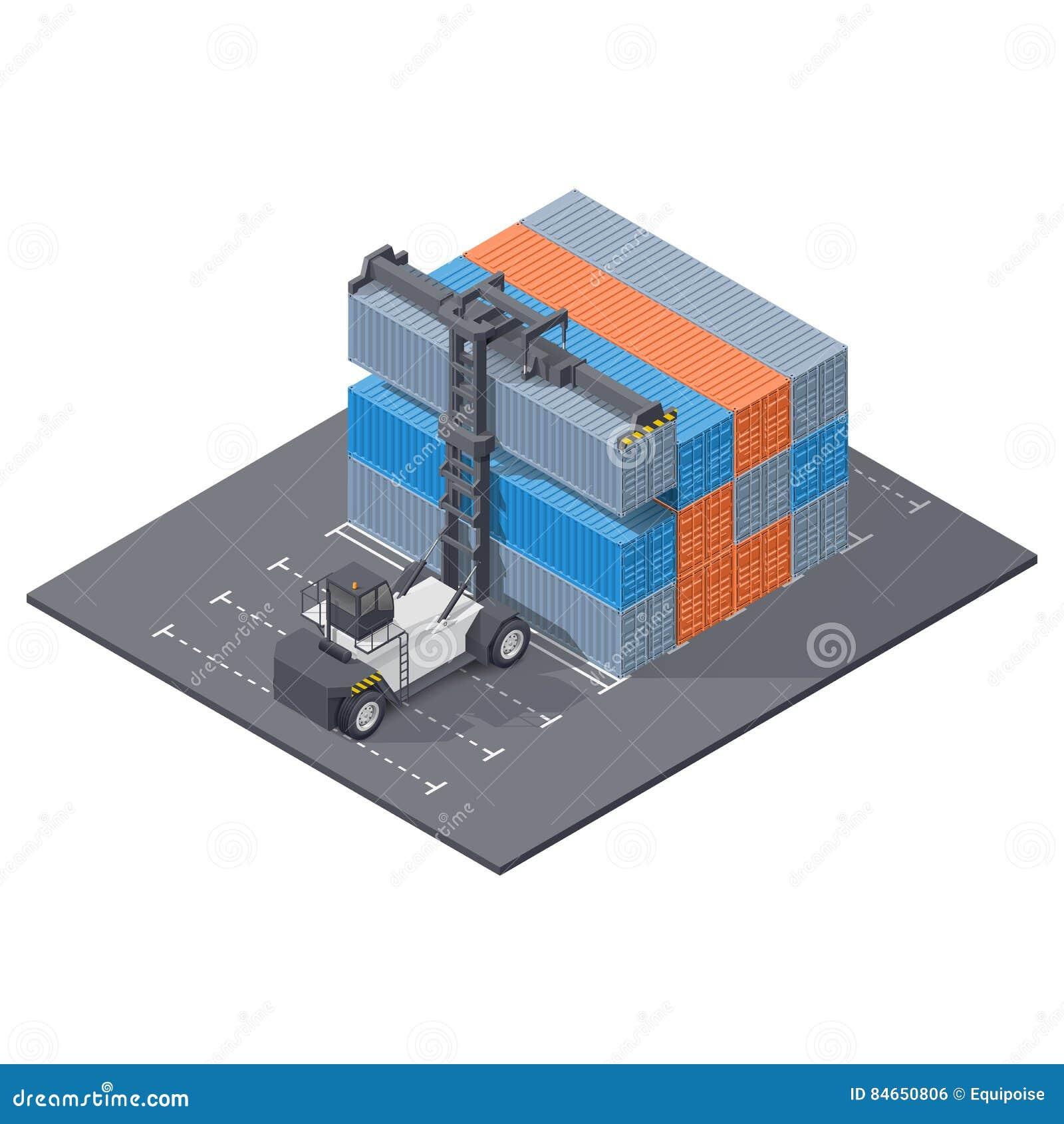 O carregador do porto empilha o ícone isométrico de 40 recipientes do pé
