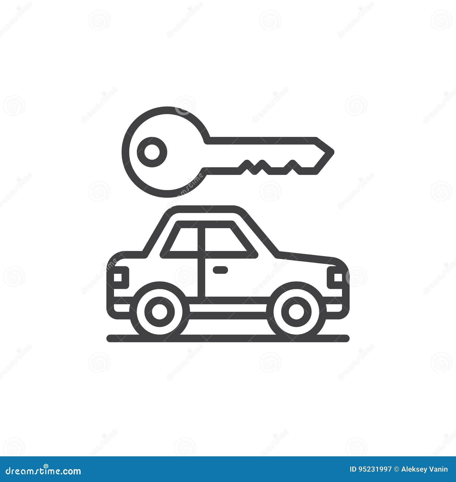 O carro e a chave alinham o ícone, sinal do vetor do esboço, pictograma linear do estilo isolado no branco