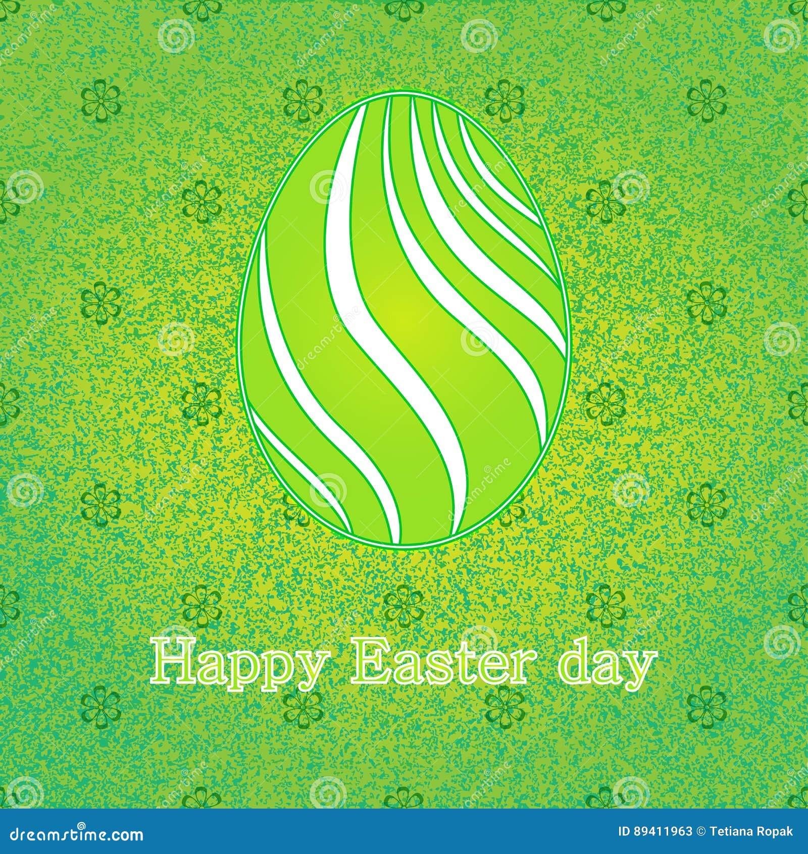 O cartão feliz da celebração da Páscoa com projeto verde decorou o ovo da páscoa Fundo decorativo floral Ilustração do vetor