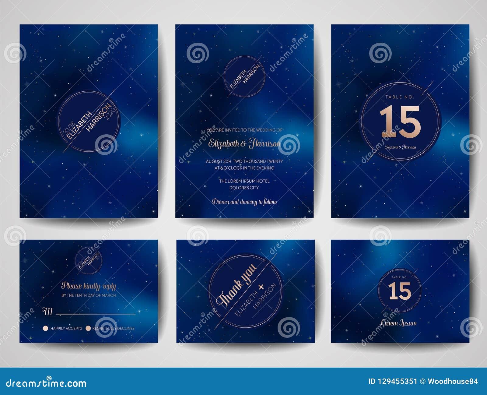 O cartão na moda do convite do casamento do céu noturno estrelado, salvar o monograma Celestial Template da data da galáxia, espa