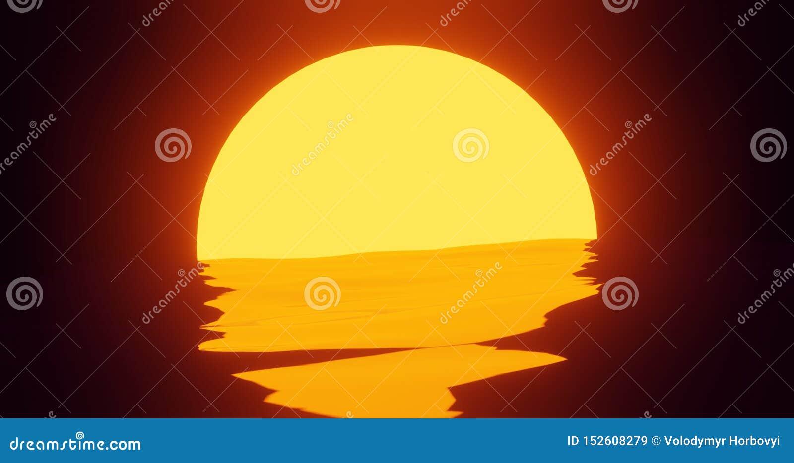 O cartaz do por do sol 80s no estilo 3d rende a reflexão no oceano, cores lisas modernas de Sun da cena