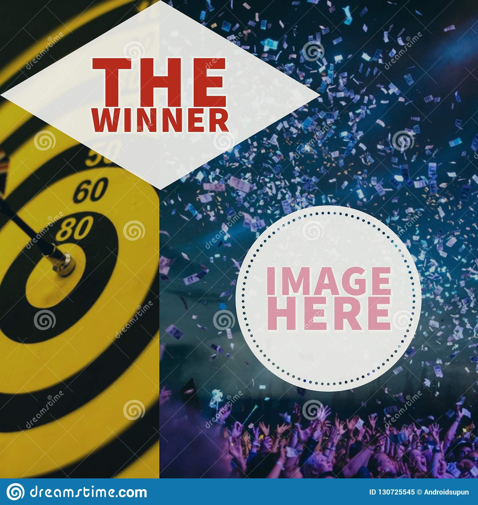 O cartaz do vencedor com moldura para retrato do perfil