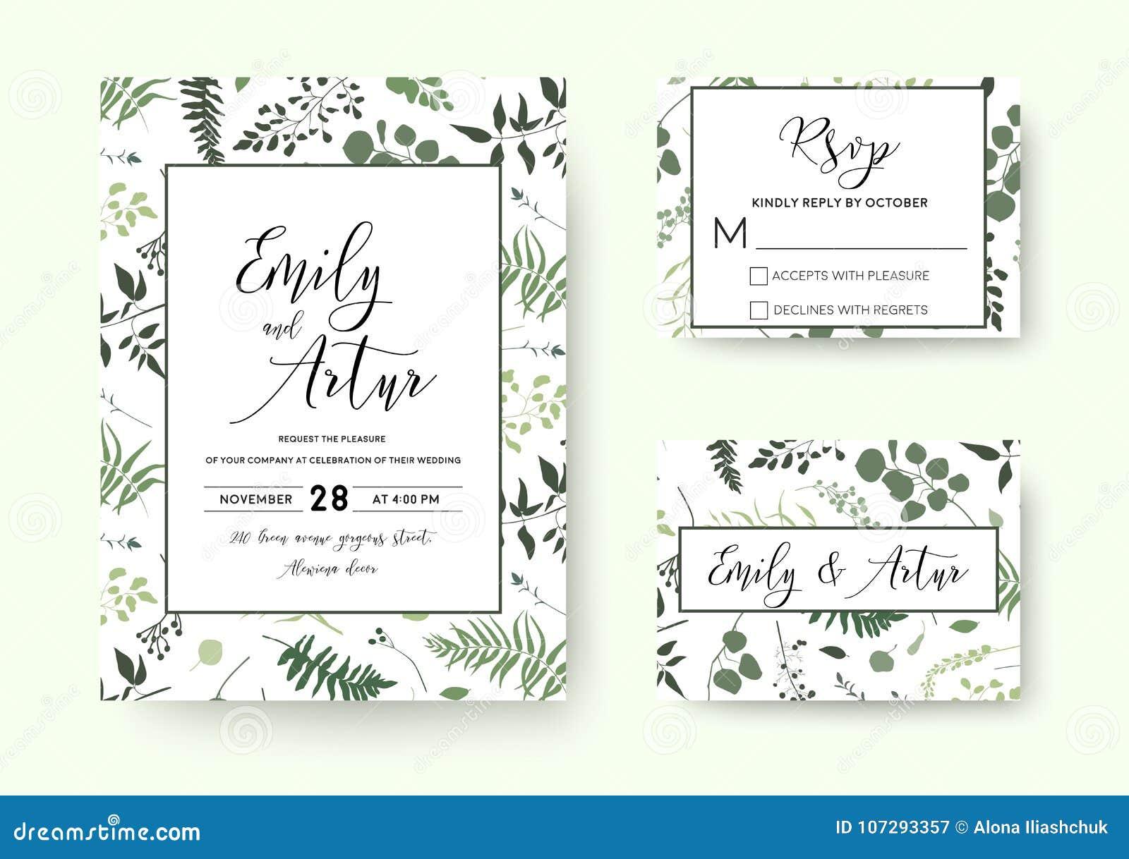 O casamento convida, silh floral das hortaliças do vetor do cartão do rsvp do convite